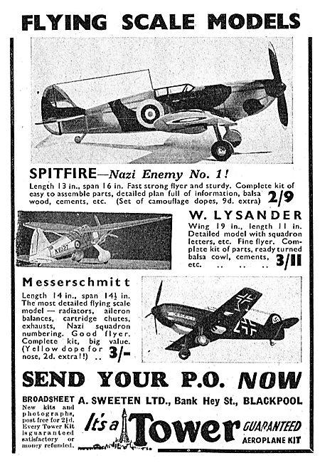A.Sweeten: Tower Flying Model Aircraft. Lysander. Messerschmitt