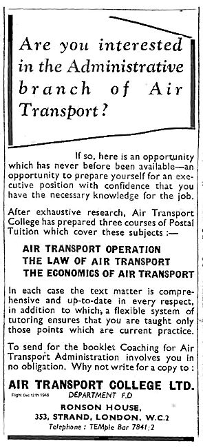 Air Transport College Courses In Air Transport Administration