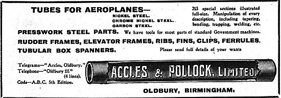Accles & Pollock Steel Tubes For Aeroplanes