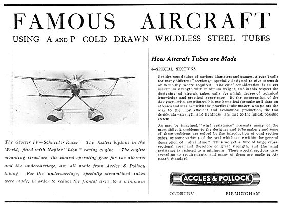Accles & Pollock: Famous Aircraft Series Schneider Gloster IV