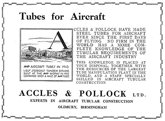 Accles & Pollock Tubes For Aircraft  1910 Sedddons Tandem Biplane