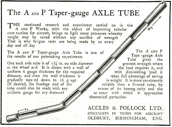 Accles & Pollock:  A and P Taper-Gauge AXLE Tube