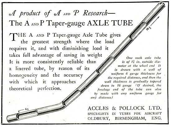 A and P Taper-Gauge AXLE Tube - A Product Of A & P Research
