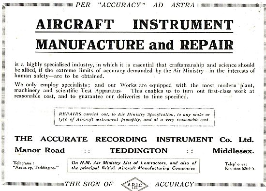The Accurate Recording Co For  Instrument  Manufacture & Repairs