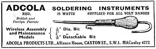 Adcola Soldering Instruments - 1950 Advert
