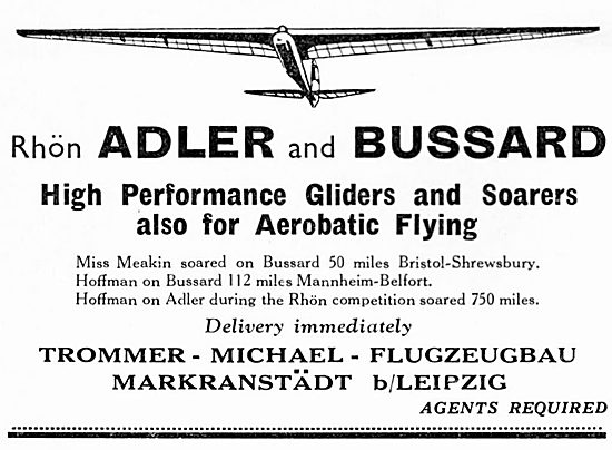Adler & Bussard High Performance Gliders 1934