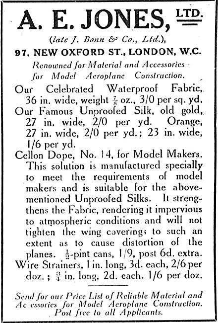 A E Jones Ltd Parts For Aeroplanes. Fabrics & Dopes
