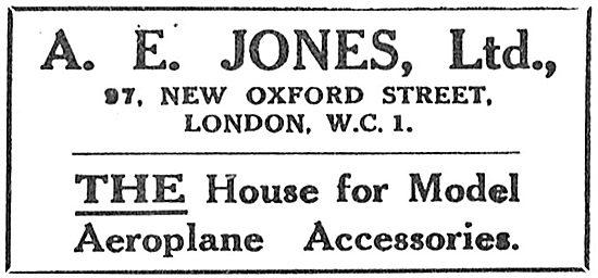 A E Jones Ltd. Aeronautical Engineers.Model Aircraft  Accessories