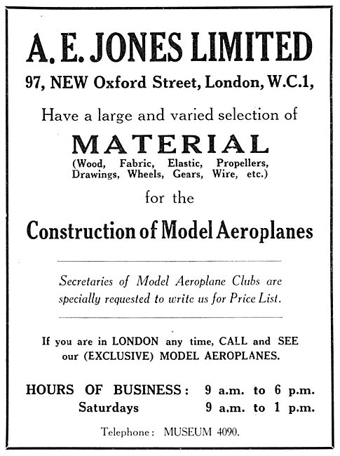 A.E.Jones - Model Aircraft Supplies & Accessories 1929