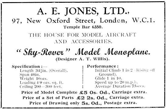 A.E.Jones - Sky-Rover Model Aircraft Supplies & Accessories