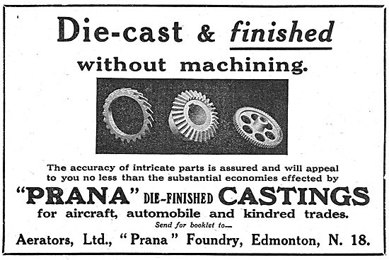 Aerators - Prana Die-Finished Castings For The Aircraft Industry