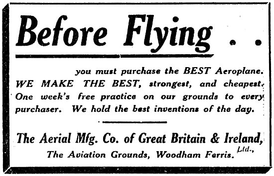The Aerial Manufacturing Company Make The Best Aeroplanes