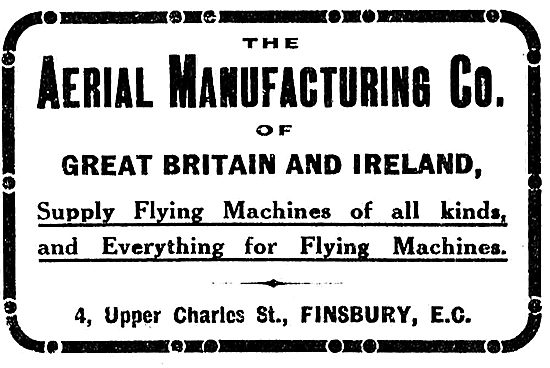 The Aerial Manufacturing Co Supply Flying Machines Of All Kinds
