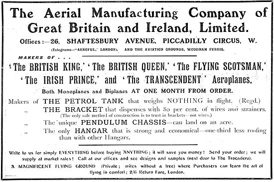 The Aerial Manufacturing Company: Monoplanes & Biplanes Built