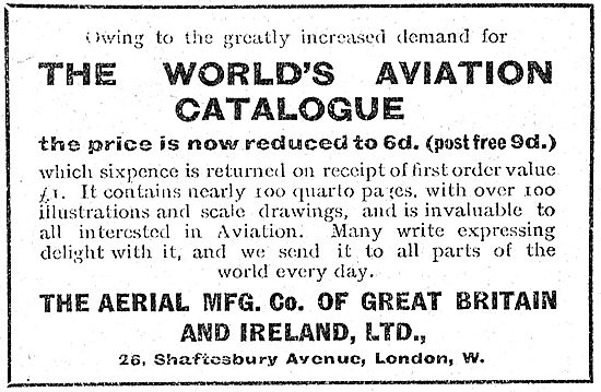 Aerial Manufacturing Co World's Aviation Catalogue Now Only 6d.