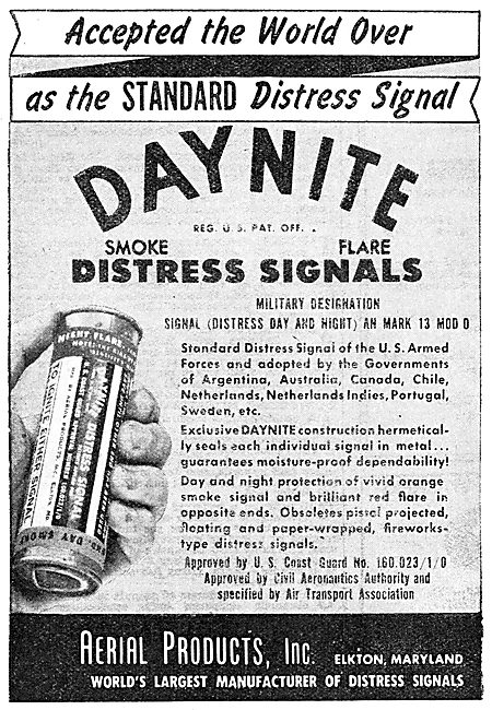 Aerial Products DAYNITE Distress Flares. 1950 Advert