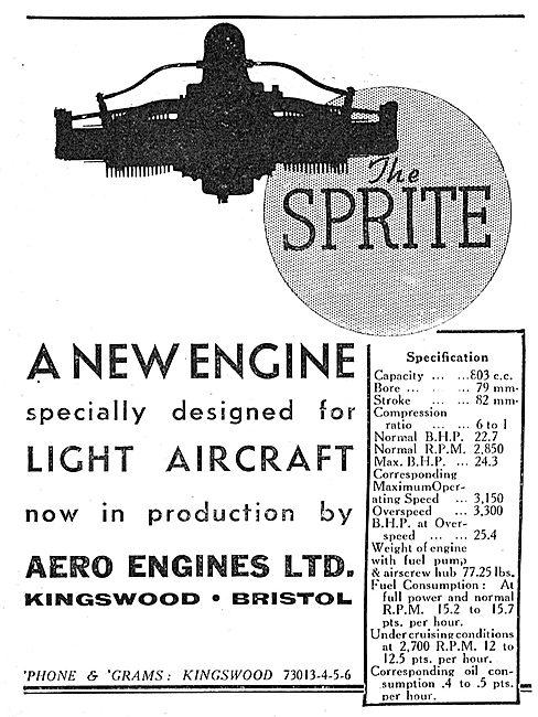Aero Engines - Sprite Light Aircraft Engine.  800cc 22hp