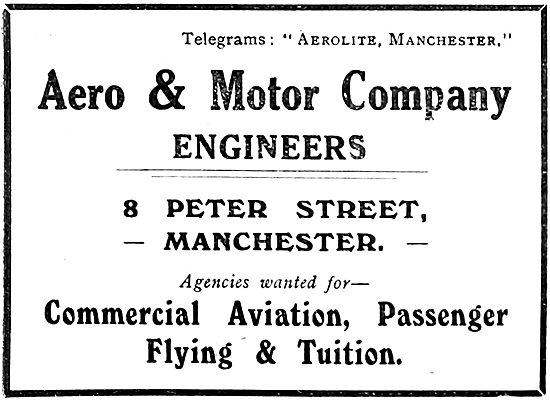 Aero & Motor Company. Engineers, Tuition & Commercial Aviation