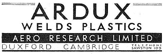 Aero Research - ARDUX Welds Plastic. 1942 Advert