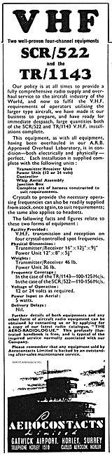 Aerocontacts SCR/522 & TR/1143 VHF Installations