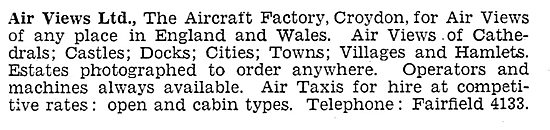 Air Views Ltd. Croydon - Aerial Photography & Surveys 1931
