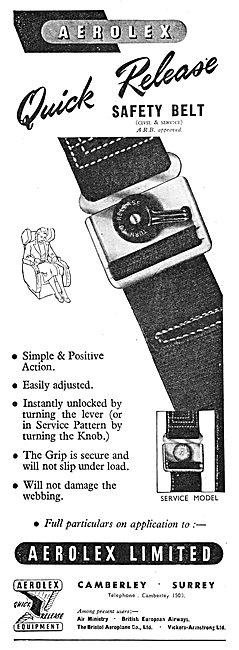 Aerolex Safety Belts & Cargo Lashing Straps. 1950 Advert