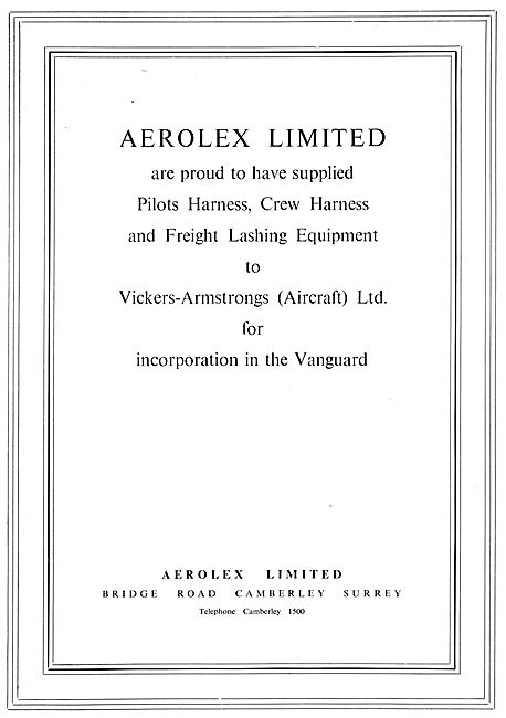 Aerolex Seat Harnesses & Freight Lashing Equipment