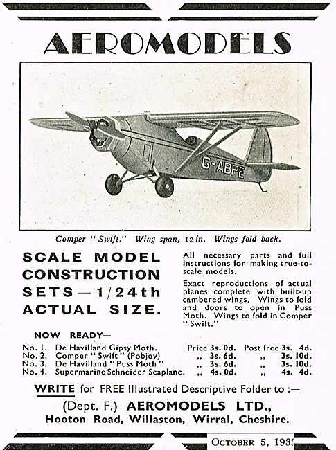 Aeromodels 1/24th Scale Model Aircraft