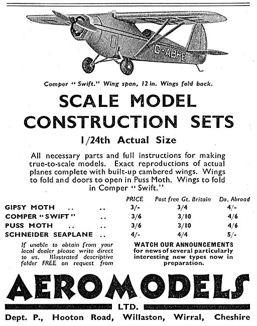 Aeromodels: 1/24th Scale Comper Swift