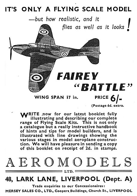 Aeromodels Flying Scale Model Aircraft - Fairey Battle