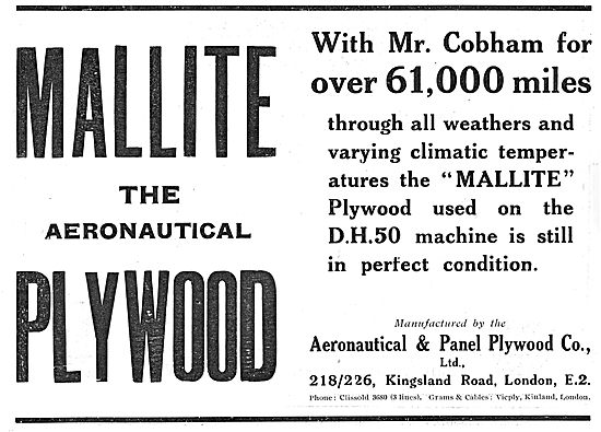 Mallite Plywood With Mr Cobham's DH50  For Over 61,000 Miles