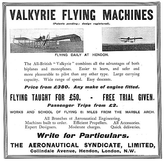 The Aeronautical Syndicate - Valkyrie Flying Machines