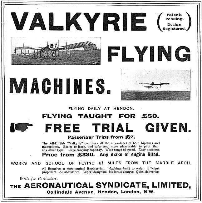 The Aeronautical Syndicate Valkyrie Aeroplanes.