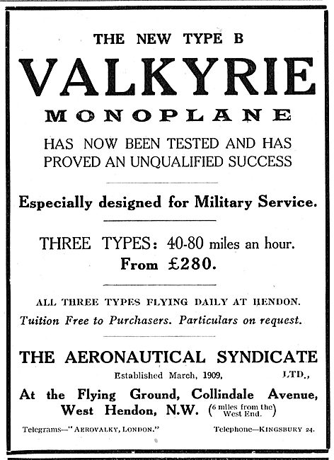 The Aeronautical Syndicate - Valkyrie Type B Monoplanes