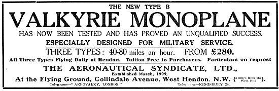 The Aeronautical Syndicate Hendon - Valkyrie Monoplane Type B