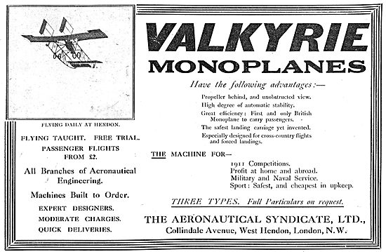 The Aeronautical Syndicate - Valkyrie Pusher Monoplanes
