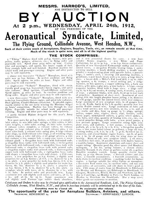 The Aeronautical Syndicate - Auction Of Stock. Harrod's