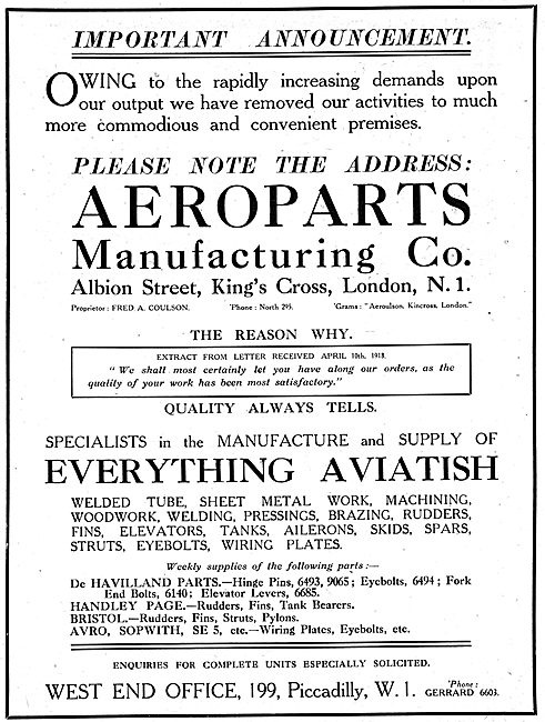 Aeroparts Manufacturing Co. Aircraft Components & Assemblies