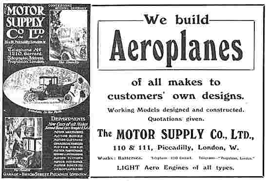 The Motor Supply Company - Build Aeroplanes To Your Own Designs