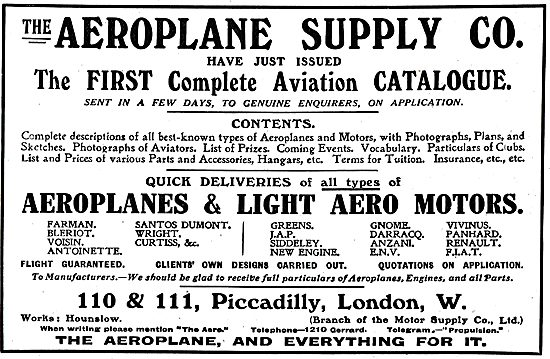 The Aeroplane Supply Company - 1st Aviation Catalogue Just Issued