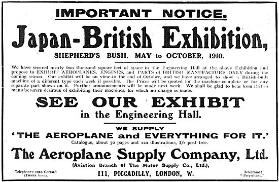 See The Aeroplane Supply Company Exhibits At Japan-British Exhib