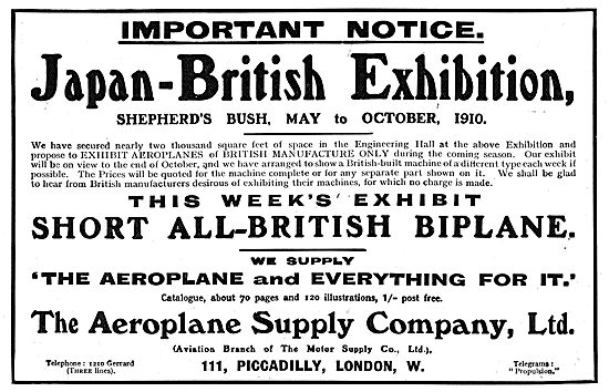 Visit The Aeroplane Supply Company Stand At The Japan-British Exh
