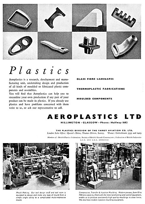 Aeroplastics. Hillington, Glasgow  - Moulded Components Aircraft