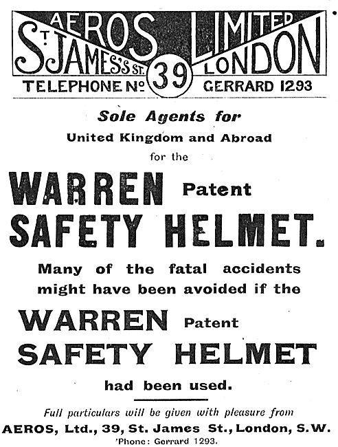 Aeros Ltd Are Sole Agents For The Warren Patent Safety Helmet
