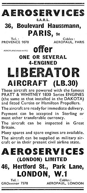Aeroservices. Liberator (LB30) Aircraft For Sale