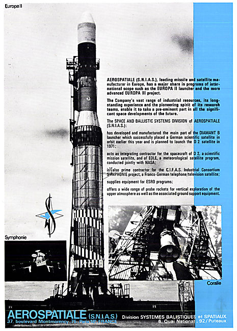 Aerospatiale Satellites & Space Projects 1970