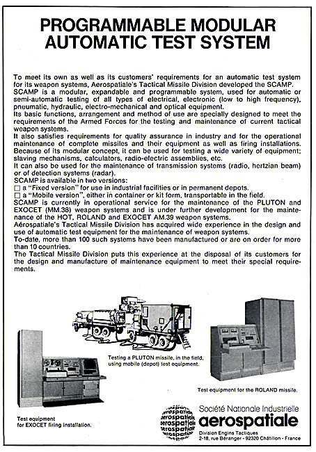 Aerospatiale Programmable Weapons Modular Test System
