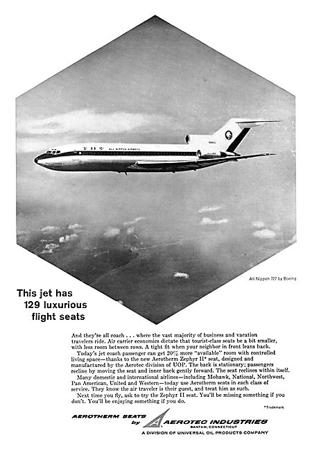 Aerotec Industries - Aerotherm Aircraft Seating 1965 Advert