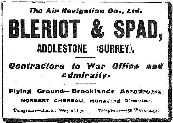 Air Navigation Co: Bleriot & Spad