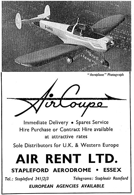 Air Rent Ltd, Stapleford Aerodrome Distributors For Air Coupe